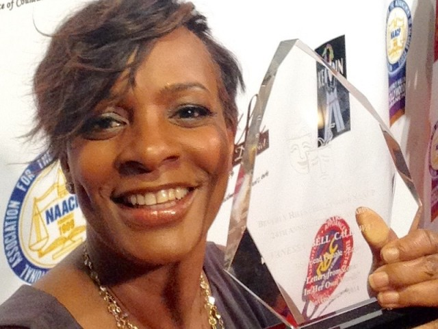 "Selfie with my NAACP Theater Award ""BEST ACTRESS"" for Zora"